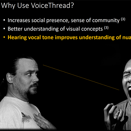 Enhancing Your Online Class wtih VoiceThread webinar slideshow